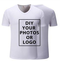 Дышащий материал хлопок спандекс Custom печатаются в горловину Tshirt