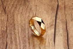 6mm Wedding Bands Rose Goud Verguld Op De Gepolijste Facet Cut Shiny Tungsten Mens Ring (Esg11093)