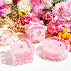 Commerce de gros de la décoration d'accueil personnalisée mariage romantique populaire Crystal porte-bougie parfumée Pot bougie en verre