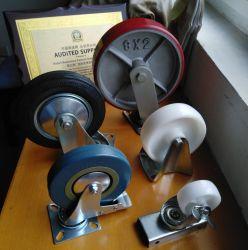 4/5/6/8 de pulgada de la rueda giratoria de rojo PU//Freno/fijo/ industriales pesadas ruedas giratorias de la rueda de carro