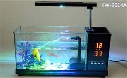 LEDのクロックが付いているUSBのデスクトップの小型魚か雑魚タンクアクアリウム