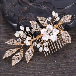 Feuille d'or Fashion Floral Crystal Accessoires de cheveux Bijoux de mariée
