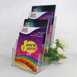 4 уровней A4 пластмассовых журнал брошюра листовка листовка держатель дисплея