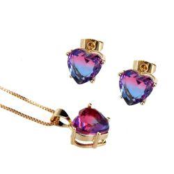 スイカの水晶によって金張りされるイヤリングの吊り下げ式のネックレスセットを熱販売しなさい