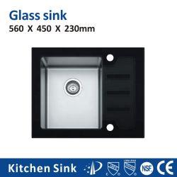 شمال أمريكا R10 8مم 8245أدخل خزانة 1 2 3 غسيل حوض زجاجي أسود بدون أكلس فولاذي حوض غسيل مع لوحة بالنسبة إلى فيلا مانسيون فيلا ذات مطبخ صغير