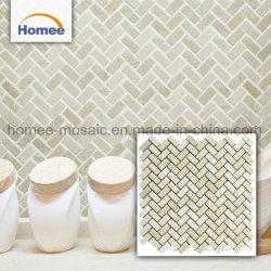 Qualitäts-Natur-Stein-neue beige Marmormosaik-Ziegelstein-Fliese-Badezimmer-Fußboden-Dekoration