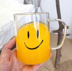 401ml-500mlにこやかなガラスプリントびんの/Highのホウケイ酸塩ガラスのコップまたはハンドルのコップまたは朝食のミルクのマグ