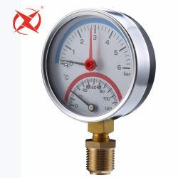 80mm Plastikunterseiten-Montierung kombinierter Temperatur-und des fenster-0-120celsius 0-6bar Druckanzeiger