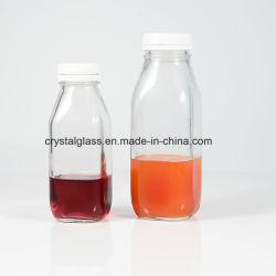 10oz 12oz 16oz französischer quadratischer Milch-Saft-Glasflasche mit Plastikschutzkappe