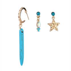 Diseño simple cuenta de turquesa Star Diamond Stud Earrings en joyas de la mujer