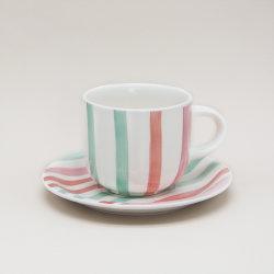 Keramisches Porzellan-Steingutcup und Saucer für Kaffee