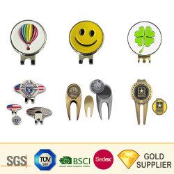 Clip rotonda personalizzata della capsula di Ballmarker della clip del cappello di golf del metallo di modo di sport dell'oro dell'argento del distintivo dello smalto dei soldi di riserva molli magnetici su ordinazione di Pin per il regalo promozionale