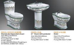 贅沢によって飾られる衛生製品3PCSの陶磁器の浴室セット