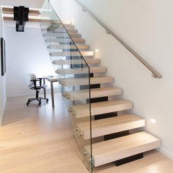 屋内で現代デザイン鋼鉄木プレハブのまっすぐなステアケース