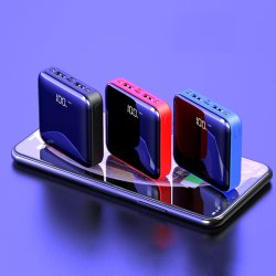 Espelho de visor digital ultrafinos 10000mAh banco de alimentação fonte de alimentação móvel