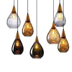 Nordische moderne handgemachte bernsteinfarbige Farben-hängende Glaslampe