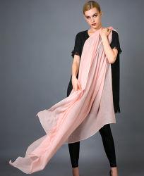 Soluble en agua 100% Puro Cashmere hilado teñido de larga bufanda para dama con sólidos Parttern