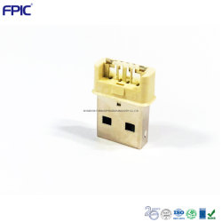 電子 USB ケーブルプラグ標準 USB 2.0 ハイエンドオスプラグ ホワイトインシュレータ付き