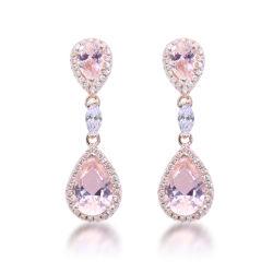 Il colore dentellare CZ innaffia gli orecchini belli Rosa che dell'argento sterlina di disegno 925 di goccia l'oro ciondola gli orecchini per le donne che Wedding i monili eleganti di aggancio