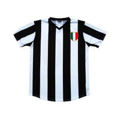 Listra branca e preta Soccer Jersey com bordados Patch