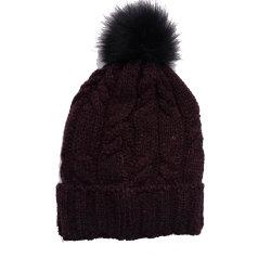 نساء كبل أكريليكيّ يحبك شتاء دافئ [بني] قبعة غطاء مع [فوإكس] فروة [بومبوم]