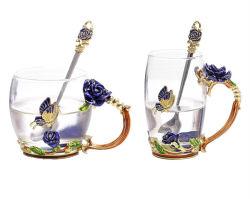 Tazza termoresistente vetro/metallo trasparente della tazza del tè dell'OEM