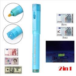 2 em 1 Detector de dinheiro falso Testador de notas de canetas de feltro Blacklight UV Detector de Moeda