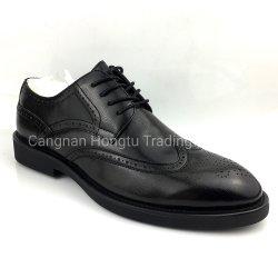 Mens zapatos de vestir de cuero de vaca negra