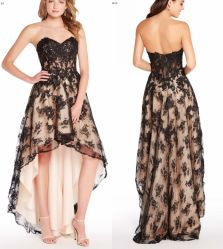 La dentelle partie Prom Hi-Low Champagne Black Robe de cocktail robe de soirée Ya126
