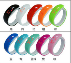 Нажмите для женщин и дизайн цифровой индикатор кремния спорта для женщин и мужчин на запястье LED браслет посмотреть новые (DC-1356)