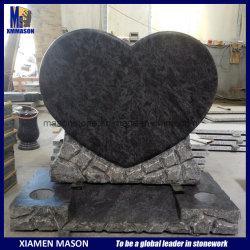 Sur mesure spécial rock tranchant coeur monuments de granite de conception avec Bahama Blue