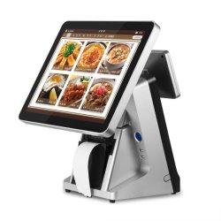 """접촉 스크린 단말 15 """" 이중 스크린 판매 시점 POS 시스템 검정 백색 열 인쇄 기계"""