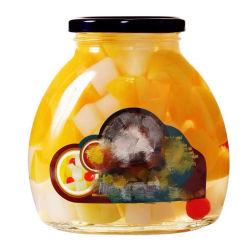 Conservas de frutas coquetel no copo de vidro de xarope de Acondicionamento