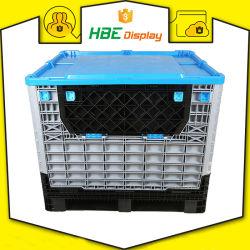 De HDPE Transporte Caixa de paletes de plástico dobrável com tampas