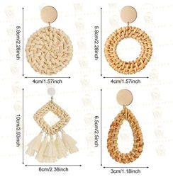 Boucles d'oreilles en rotin tissé léger Déclaration géométrique Tassel Bohemian Earrings