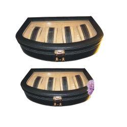 شاشة عرض صندوق التعبئة لشاشات المراقبة الفاخرة صندوق التخزين المكسوة بالجلد حقيبة مع 4 حصص (4563)