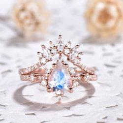 925 순은 자연적인 월장석 결혼 반지