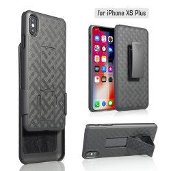 Estojo de plástico de textura de tafetá híbrido combo móvel Tampa telefone caso com suporte para iPhone 9 Plus