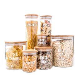 Kruik van het Glas van de Opslag van de Deegwaren van de Koekjes van het Suikergoed van de Kruik van de Fles van de Pot van het Voedsel van de Keuken van de Flessen & van de Kruiken van de opslag de Verse Houdende Luchtdichte met het Deksel van het Bamboe