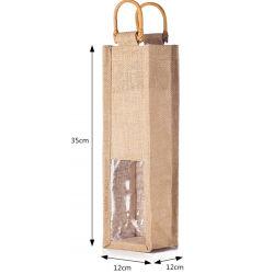 再使用可能なギフト袋の藤のハンドル単一PVC Windowsのジュートのワインのトートバック