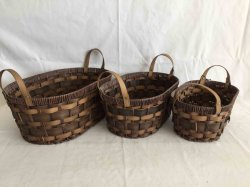 Novo Material PE mão de vime cestas de tecido com alça de PU