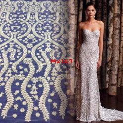 Venta caliente bordado plano elegante vestido de novia y vestido de noche
