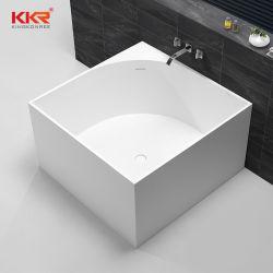 Pierre artificielle de baignoires en acrylique carré de surface solide coin baignoire autostable