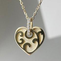 En forma de corazón de oro macizo Diamond Necklace Collar de Oro 18K joyería fina