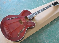 빨간 대략 완성되는 일렉트릭 기타, 반 빈 바디, 전복 상감세공
