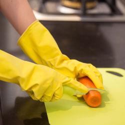 50g Flocklined DIP de látex amarillo guantes de cocina del hogar