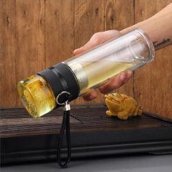 Cadeau promotionnel 400ml Thé Flacon de verre à double paroi de séparation