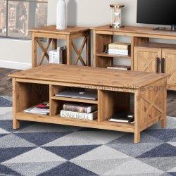 Accueil Mobilier de bureau en bois de couleur brun rustique Table à café