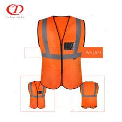 공장 PVC ID 포켓을%s 가진 뜨개질을 하는 직물 사려깊은 안전 조끼