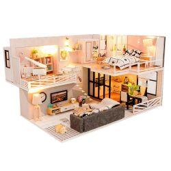 Modelo de casa de muñecas hechas a mano juegos de muñecas en miniatura de muebles de madera bricolaje Dollhouse luces LED